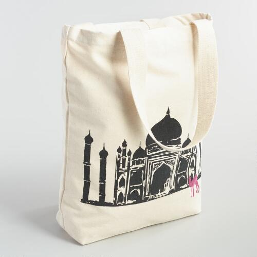 Large Taj Mahal Canvas Tote Bag