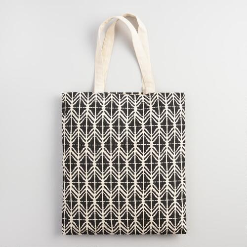 Large Black and White Canvas Tote Bag