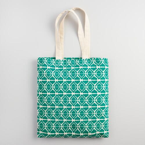 Large Teal Canvas Tote Bag