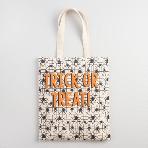 Large Trick or Treat Canvas Tote Bag