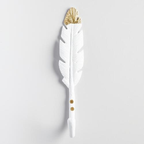 White and Gold Feather Metal Wall Hook