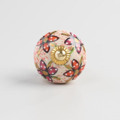 Pink and Gold Ceramic Knobs Set of 2