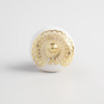 Gold and White Floral Ceramic Knobs Set of 2