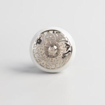 Silver and White Floral Ceramic Knobs Set of 2