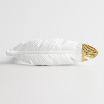White and Gold Feather Metal Drawer Pull
