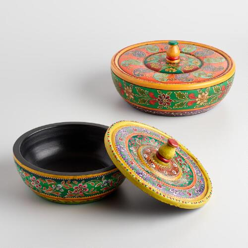 Painted Wood Bowl with Lid