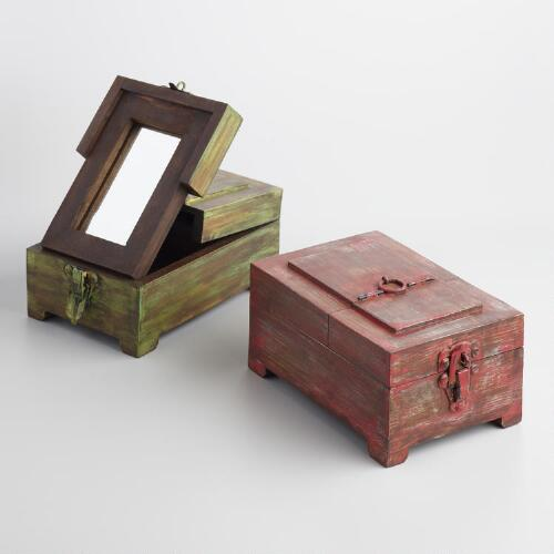 Wood Barber Box with Mirror