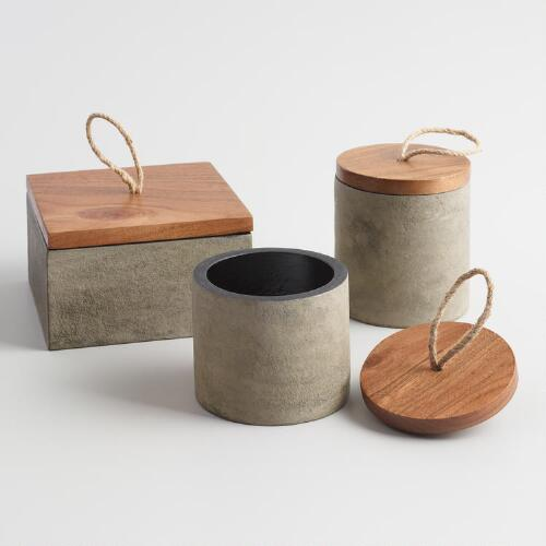 Concrete and Wood Box with Lid