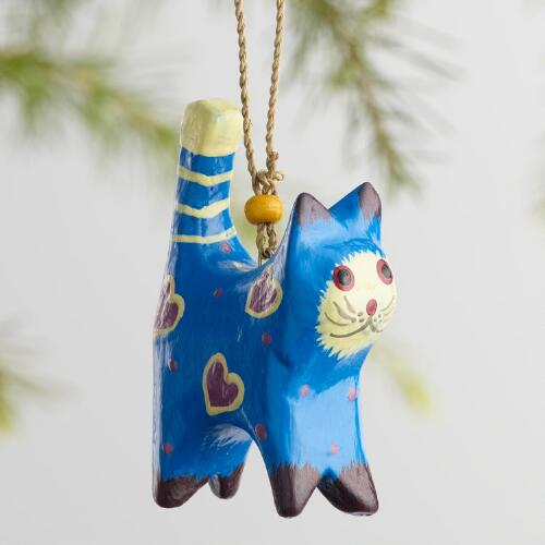 Painted Wood Cat Ornaments Set of 6