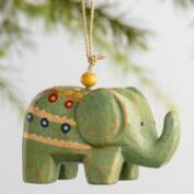 Painted Wood Elephant Ornaments Set of 6