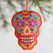 Embroidered Fabric Skull Ornaments Set of 3