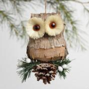 Frosty Pinecone Owl Ornaments Set of 2