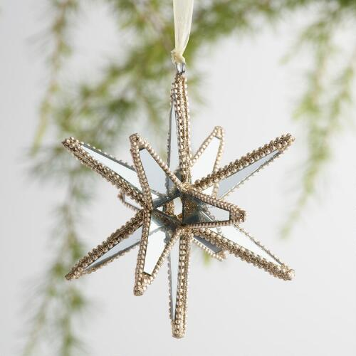 Glass 12 Point Star Ornaments Set of 3