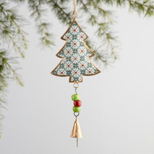 Metal Tree Bell Ornaments Set of 3