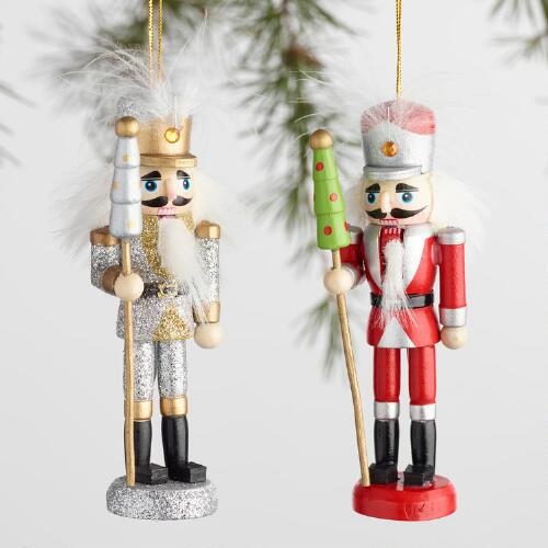 Multicolor Wood Nutcracker Boxed Ornaments Set of 2