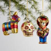 Glass Mexico Boxed Ornaments 3 Pack