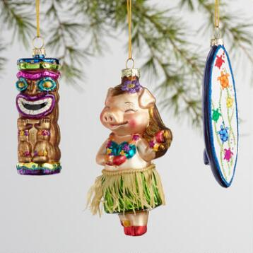 Glass Hawaii Boxed Ornaments 3 Pack