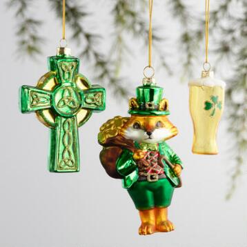 Glass Ireland Boxed Ornaments 3 Pack