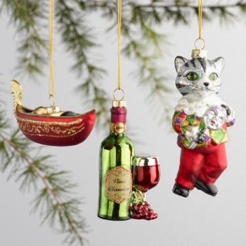 Glass Italy Boxed Ornaments 3 Pack
