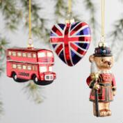 Glass England Boxed Ornaments 3 Pack