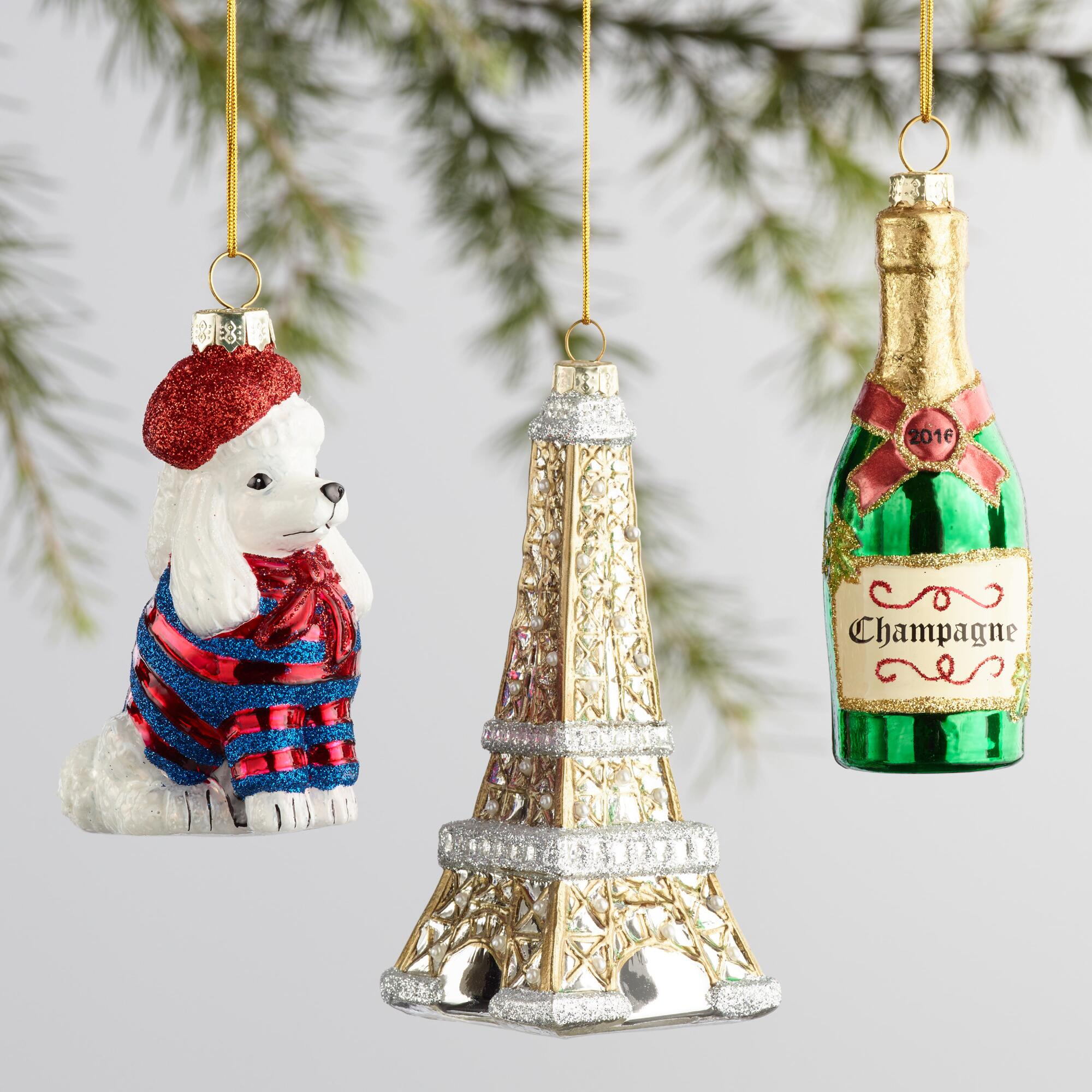 Glass France Boxed Ornaments 3 Pack | World Market