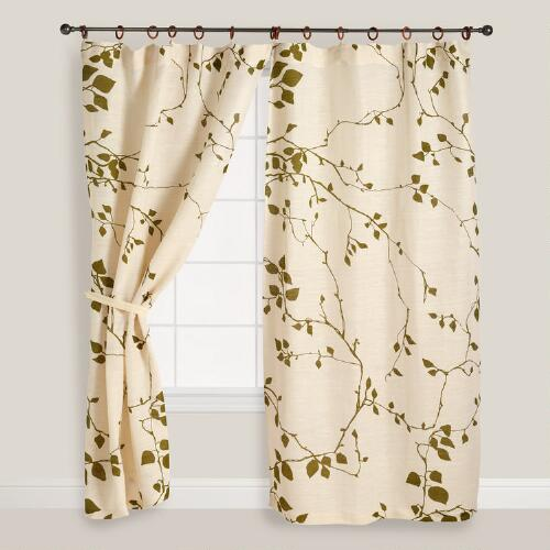 Lyrical Branches Jute Curtains, Set of 2