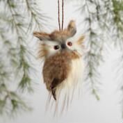 Furry Owl Ornaments Set of 2