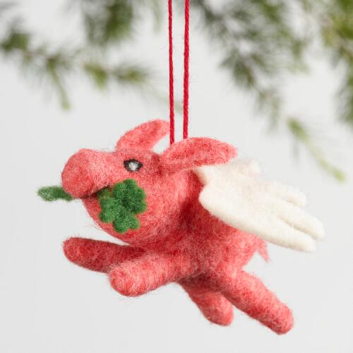 Wool Flying Pig Ornaments Set of 3