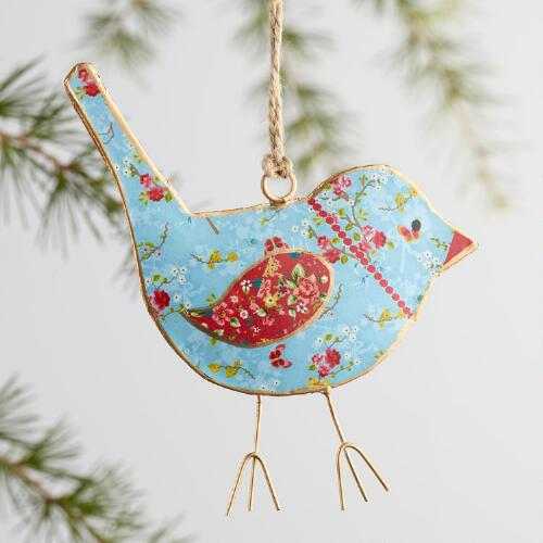 Patterned Metal Bird Ornaments Set of 3