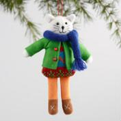 Fabric Holiday Dressed Cat Ornaments Set of 3