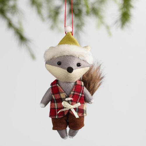 Fabric Fox Ornaments Set of 2