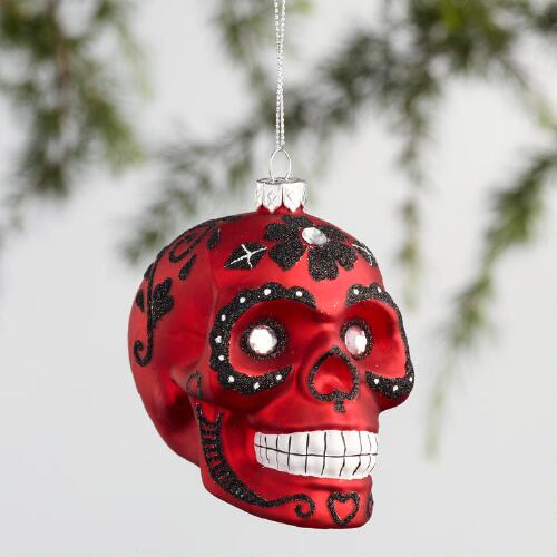 Glass Day of the Dead Skull Ornaments Set of 3