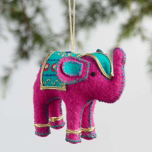 Fabric Indian Elephant Ornaments Set of 4