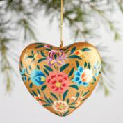 Paper Mache Floral Heart Ornaments Set of 4