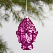Glass Buddha Head Ornaments Set of 6