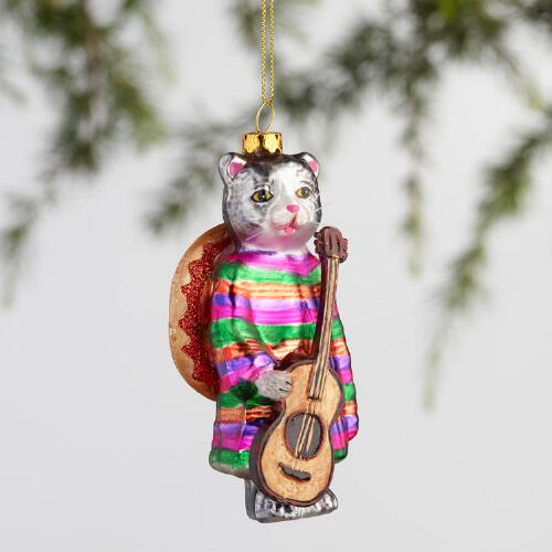 Glass Mariachi Cat Ornaments Set of 3