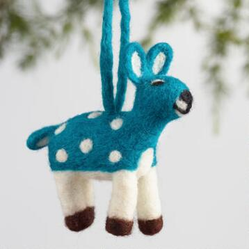 Felt Spotted Deer Ornaments Set of 4