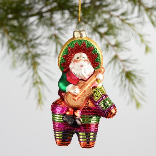 Glass Santa on a Pinata Ornament
