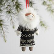 Fabric Eskimo Kid Ornaments Set of 3