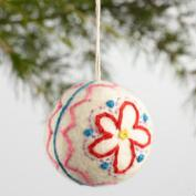 Felt Flower Ball Ornaments Set of 3