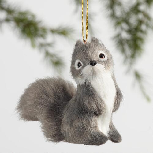 Gray Fabric Chipmunk Ornaments Set of 3