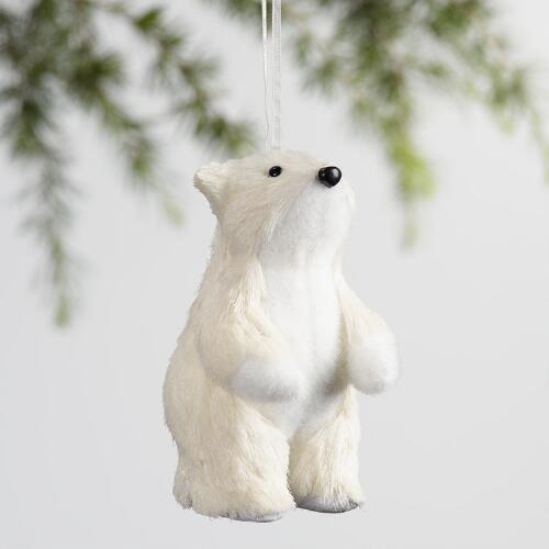 Natural Fiber and Fabric Polar Bear Ornaments Set of 2