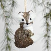 Natural Fiber Fuzzy Fox Ornaments Set of 2