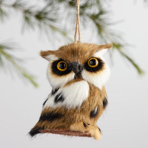 Fabric Spotted Owl Ornaments Set of 4