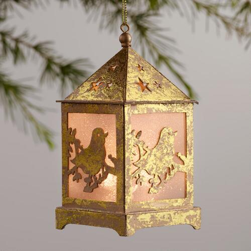 Gold Foil LED Lantern Ornaments Set of 3