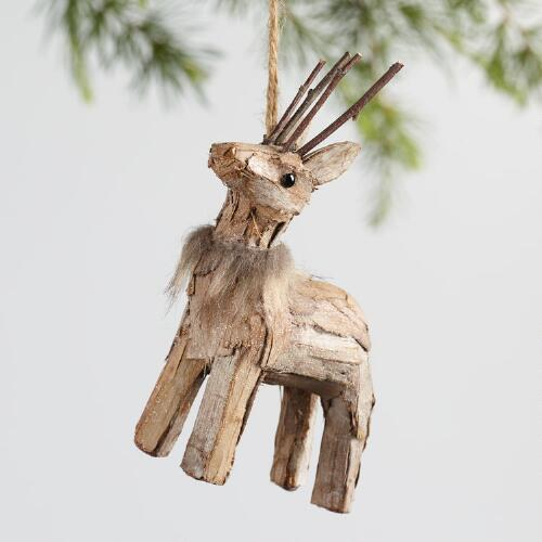 Fabric Deer Ornaments Set of 2