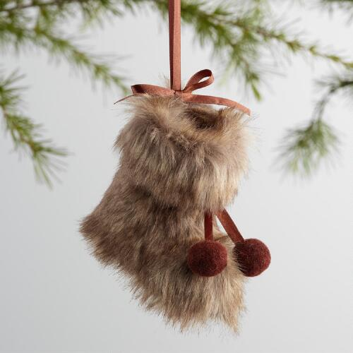 Fabric Fur Boot Ornaments Set of 3