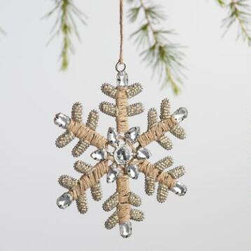 Jute and Gem Snowflake Ornaments Set of 2