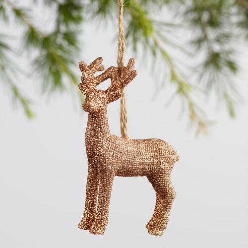 Gold & Silver Resin Deer Ornaments Set of 3