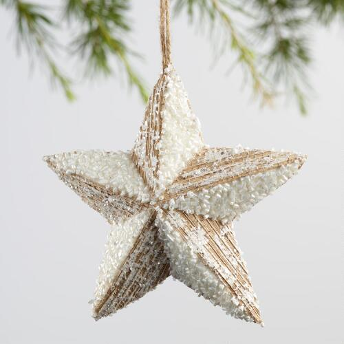 Natural Fiber Icy Star Ornaments Set of 2